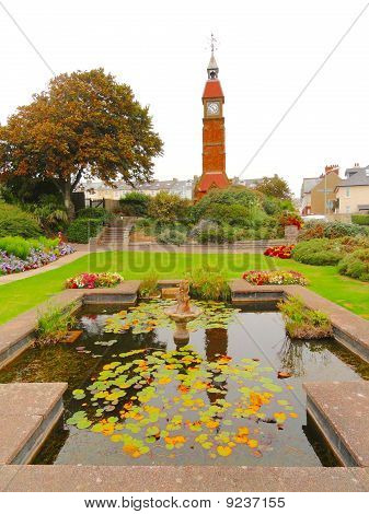 Park Pond With Clock Tower