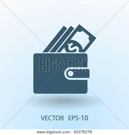Flat long shadow Wallet icon, vector illustration