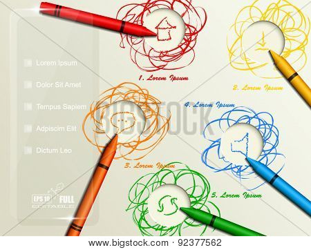 Vector multicolored abstract background with colored realistic crayons and room for text