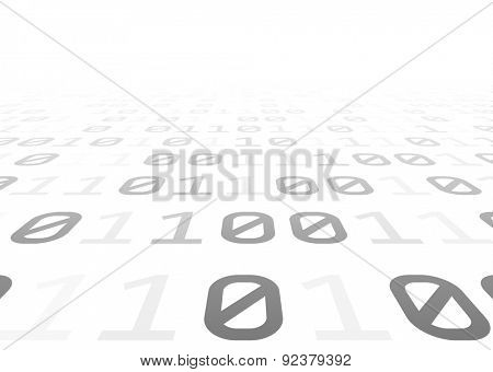 Binary perspective background with grey digits. Vector illustration.