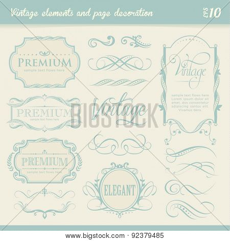 Vintage elements and page decoration