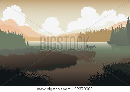 EPS8 editable vector illustration of a deer in a wild landscape with the animal as a separate object
