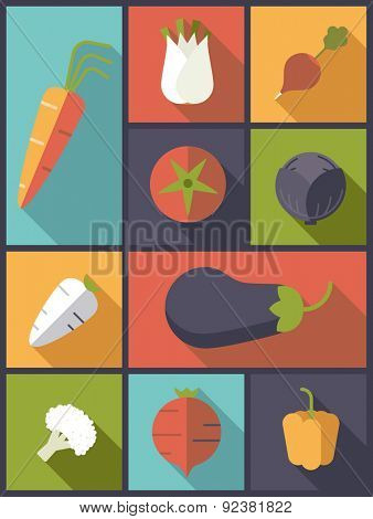 Healthy vegetables icons vector illustration. Vertical flat design illustration with a variety of healthy vegetables icons