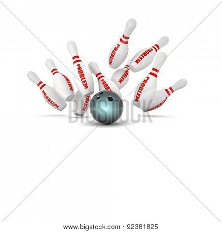 bowling skittle and problem text background