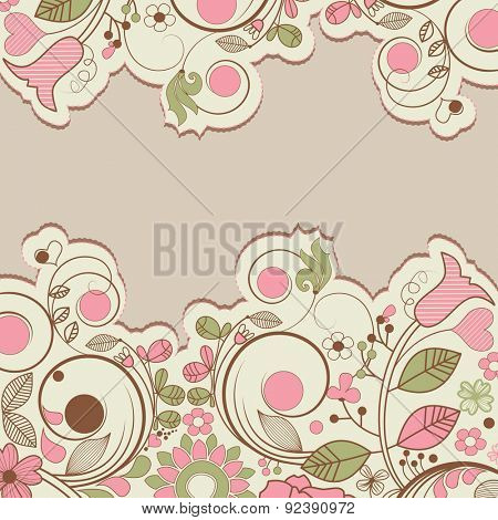 Floral borders retro vector