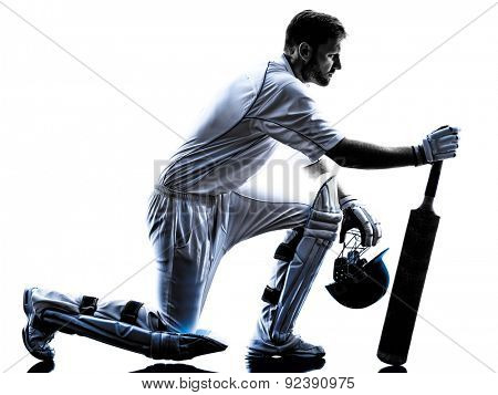 Cricket player with bat in silhouette shadow on white background