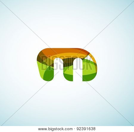 Vector alphabet letter logo. Created with transparent colorful overlapping geometric shapes, waves and flowing shapes