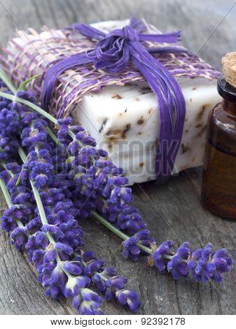handmade lavender soap with fresh flowers