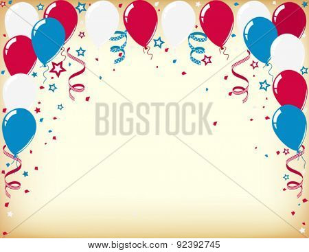 independence day celebration card with balloons and streamers