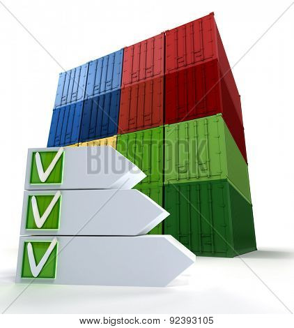 A pile of cargo containers and a checklist with ticked elements with copy space