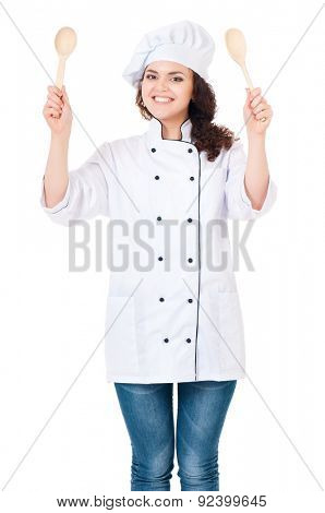 Young woman dressed as a cook with cap, isolated on white background