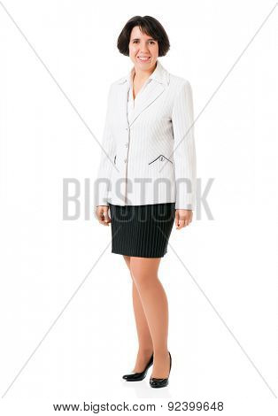 Successful business woman in suit, isolated white background
