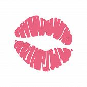 pic of lip  - Kiss lips lipstick red trail - JPG