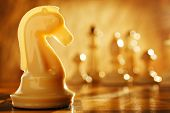 picture of chess pieces  - Chess knight chess pieces in front and in the background - JPG