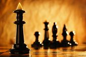 stock photo of chess pieces  - Chess knight chess pieces in front and in the background - JPG
