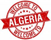 foto of algeria  - welcome to Algeria red round ribbon stamp - JPG