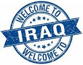 stock photo of iraq  - welcome to Iraq blue round ribbon stamp - JPG