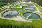 stock photo of sewage  - Aerial view of the sewage treatment plant - JPG