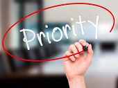 picture of priorities  - Man Hand writing Priority with marker on transparent wipe board - JPG