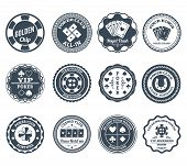 picture of flush  - Casino gambling poker clubs golden chip and royal flush symbols black labels set abstract isolated vector illustration - JPG