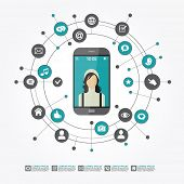 Smartphone surrounded by abstract computer network with integrated circles and icons for digital,  n poster