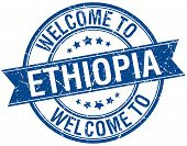pic of ethiopia  - welcome to Ethiopia blue round ribbon stamp - JPG