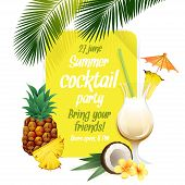 foto of pina-colada  - Vector illustration Beach tropical cocktail pina colada with garnish and pineapple colorful poster - JPG