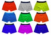 stock photo of spandex  - Colorful underwear isolated on the white background - JPG
