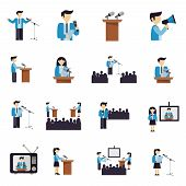 image of politician  - Public speaking businessmen and politicians icons flat set isolated vector illustration - JPG