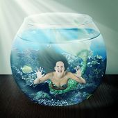 stock photo of fishbowl  - evil mermaid in a fishbowl with fish on table - JPG