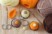 pic of thread-making  - Making of handmade colorful crochet toys sweets  - JPG