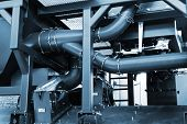 picture of sandblasting  - a pipe system to a modern plant - JPG