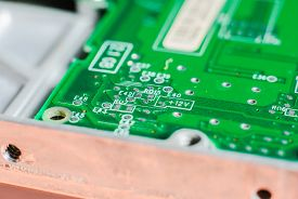stock photo of transistors  - micro electronics main board with processors diodes transistors - JPG