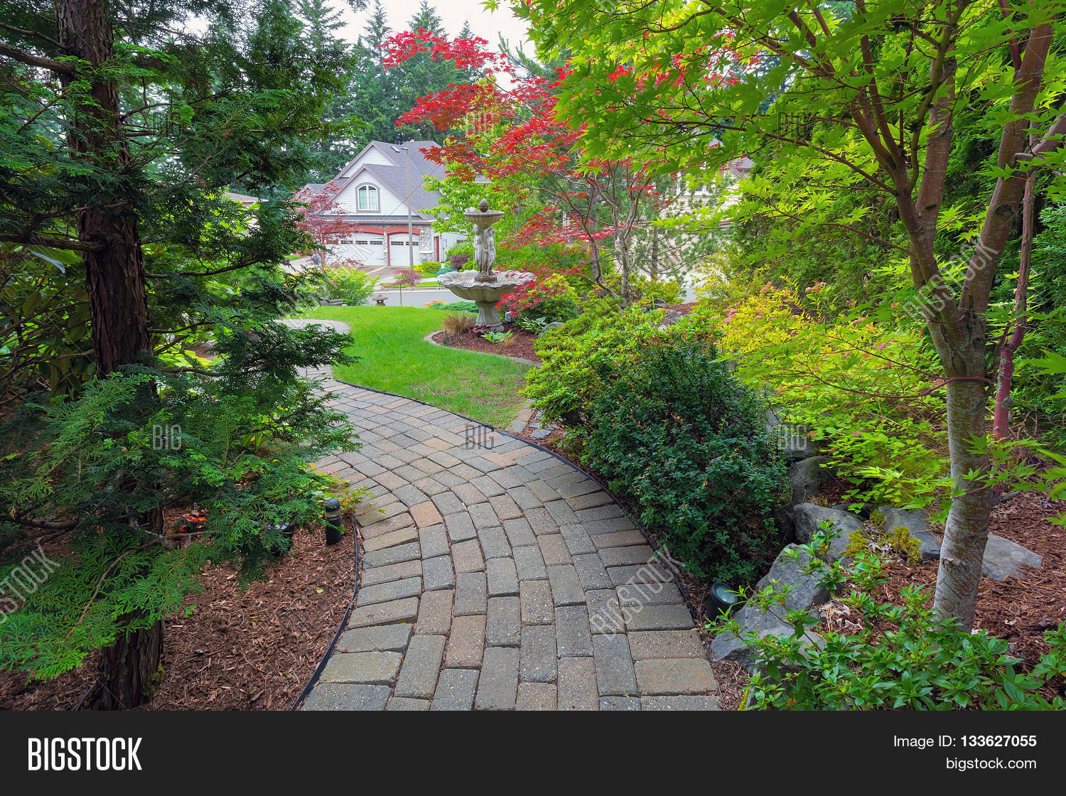 Garden brick paver path in frontyard with water fountain for Garden deciduous trees