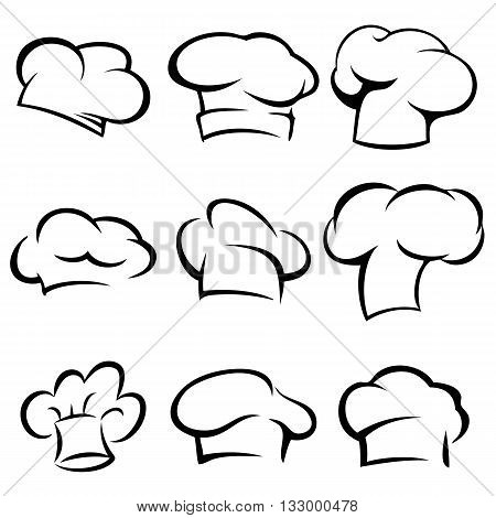 set of chef hats icons. stylized silhouettes