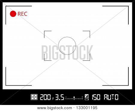 Photo or video camera viewfinder grid screen with AF dot, exposure and camera settings. Recording led blinked. Vector background