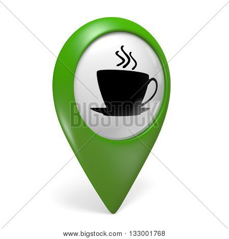 Green map pointer icon with a coffee cup symbol for cafes and bistros, 3D rendering
