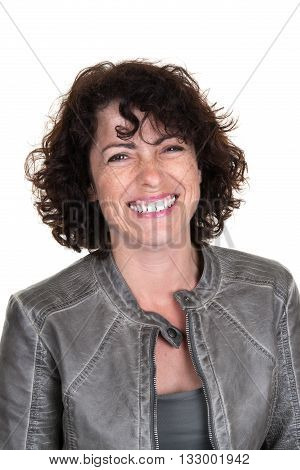 Cheerful Caucasian Lady Laughing Isolated On White Background.