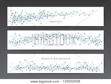 Vector network banner templates on white, horizontal banners with dots and lines, connection concept