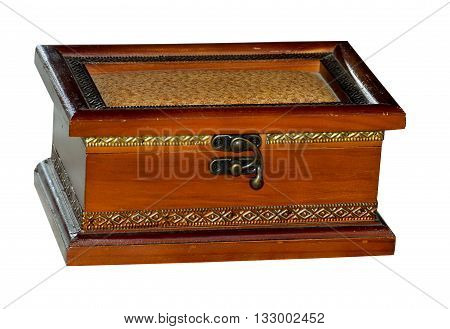 old wooden brown casket isolated in retro style