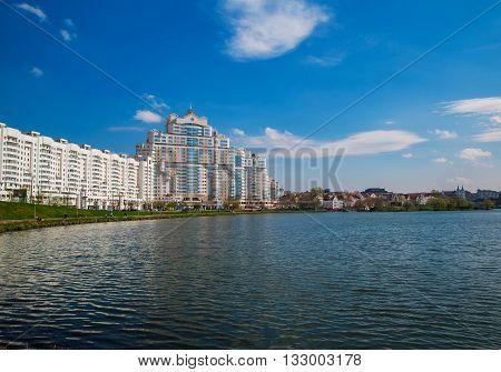 Minsk Belarus View of the river Svisloch in the area of street Storozhevsky Nemiga Minsk Belarus.