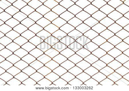 chain link fence isolated on white background with clipping path