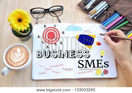 Business desktop and Small and Medium Enterprises Concept.
