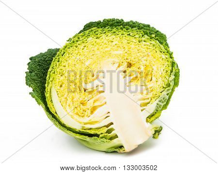 green Savoy cabbage isolated on white background