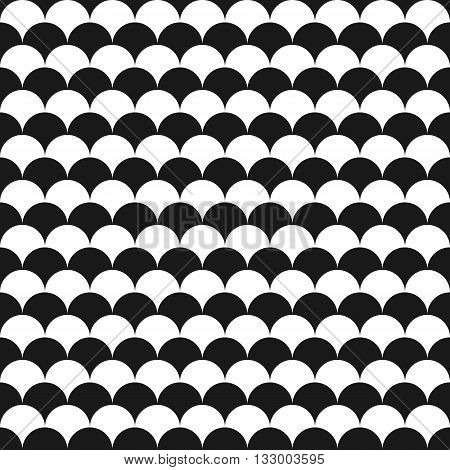 Black and white seamless pattern with fish scales