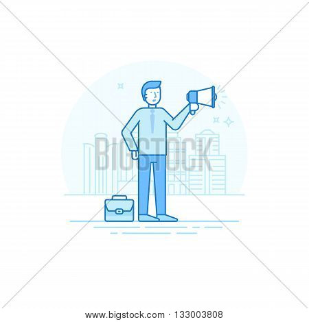 Vector Illustration In Trendy Flat Linear Style In Blue Colour