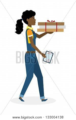 Delivery woman with pizza boxes. Fast transportation. Isolated african american cartoon character on white background. Postwoman, courier with fresh pizza and clipboard.