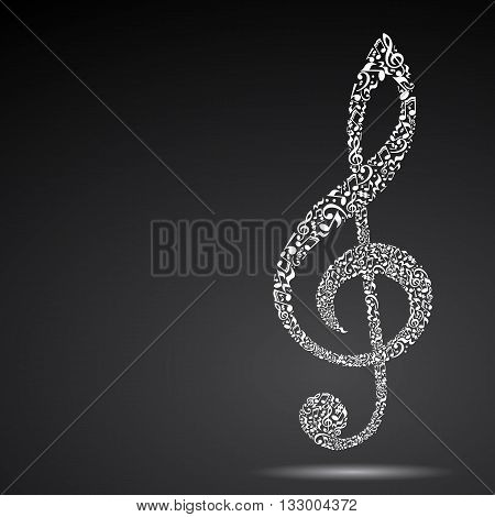 Treble clef made of music notes on black background. White notes pattern. Black and white design. G clef shape. Poster and decoration idea.