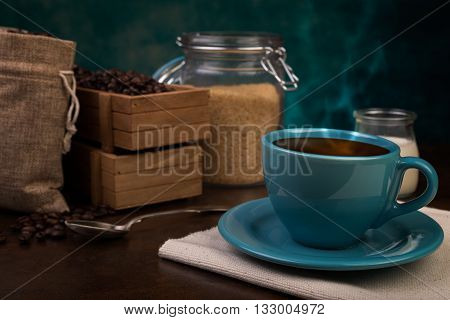 Cup Of Coffee And Jute Bags, Wooden Container, Cane Sugar