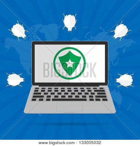Computer laptop with green shield on desktop screen for protect computer virus. Vector illustration flat design internet security concept design.